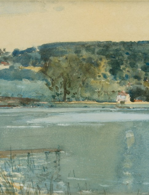 Childe Hassam, (American, 1859–1935), The River Seine at Chatou, ca. 1889, watercolor and gouache, collection of Robert B. Ekelund, Jr. and Mark Thornton