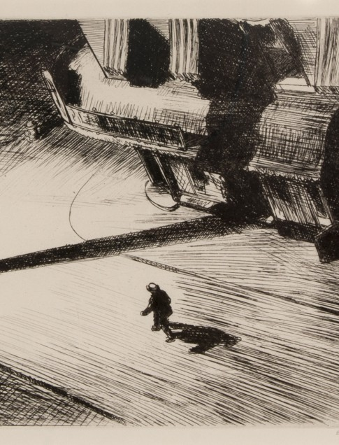 Edward Hopper (American, 1882–1967), Night Shadows, 1921, etching, collection of Robert B. Ekelund, Jr. and Mark Thornton