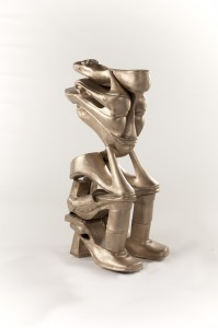 Willie Cole (American,   b. 1955) The Worrier,   2014 Edition: 3/5 Bronze Ca. 37 ¾ x 14 ¾ x 20 ¼ inches All images courtesy Willie Cole and beta pictoris gallery