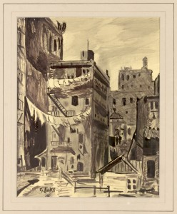 George Luks (American,   1867–1933) Tenements Ink and wash on paper 9 3?4 x 7 3?4 inches (sight) Ca. 19 x 17 inches (frame)