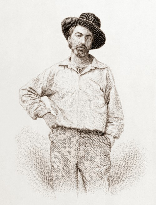 "WALT WHITMAN, AGE 37 Frontispiece to ""Leaves of Grass,"" Fulton St., Brooklyn, NY, 1855, steel engraving by Samuel Hollyer from a lost daguerreotype by Gabriel Harrison. (This image is is the public domain in the United States because it was published before January 1, 1923.)"