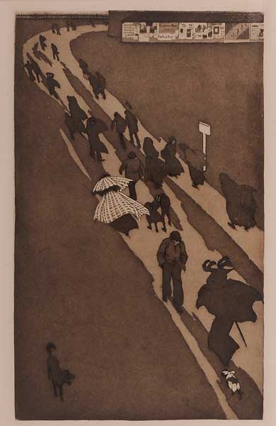 Etching and aquatint of people walking on a cold day