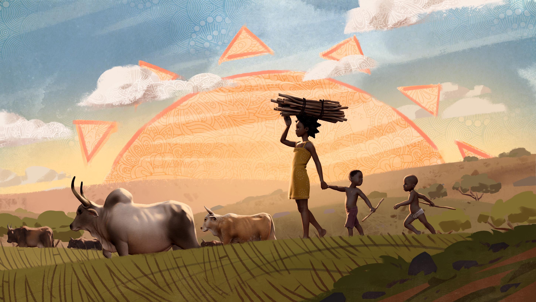 Animation still from the film, Liyana