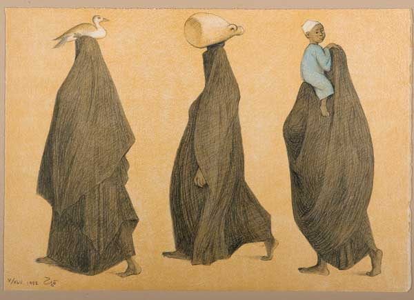 Three covered women walking, carrying a duck, a jug and a child.