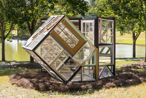 Fumi Amano (Washington, b. 1985) Voice, 2017 Old window frames, wood, and sheet glass