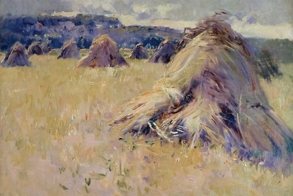 oil on canvas of haytacks