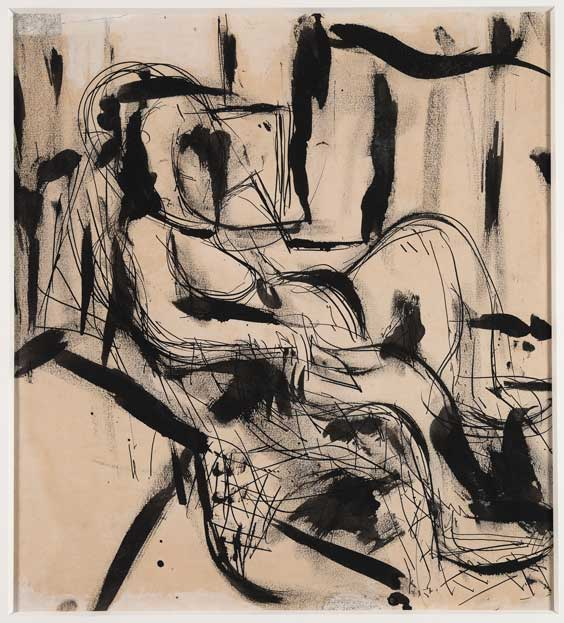 Grace Hartigan (American, 1922–2008) Seated Figure I, 1952 Pen, brush, black ink, and ink wash on paper Sight: 12 x 10 1/2 inches Courtesy of Debra Force Fine Art