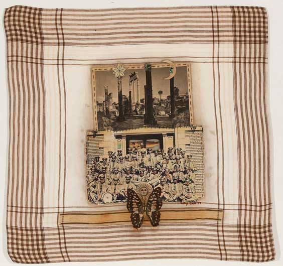 Betye Saar (American, b. 1926) Pompeii Band, 1977 Mixed media collage on handkerchief 15 1/4 x 15 7/8 inches Courtesy of Michael Rosenfeld Gallery