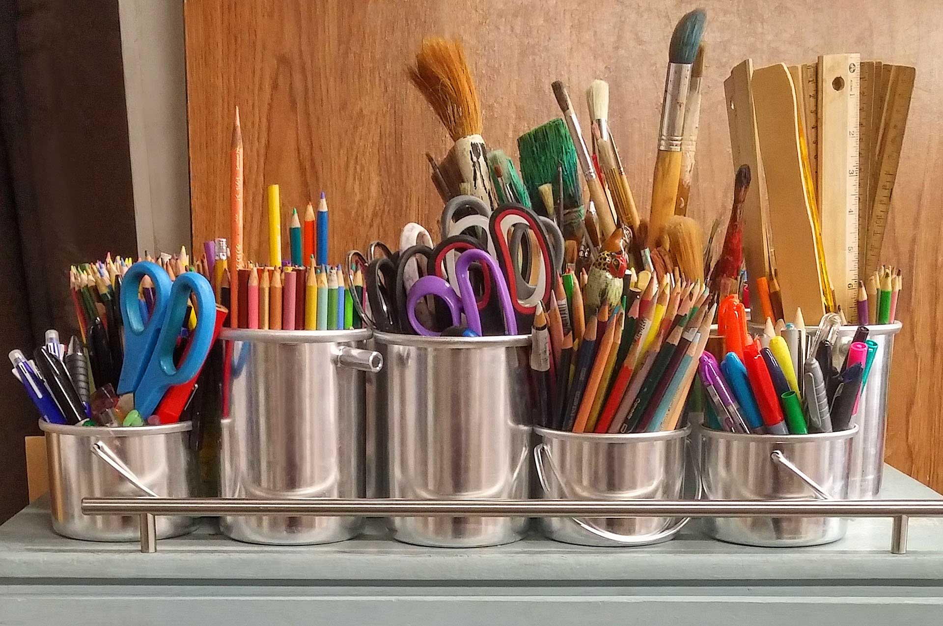 cart of art supplies.