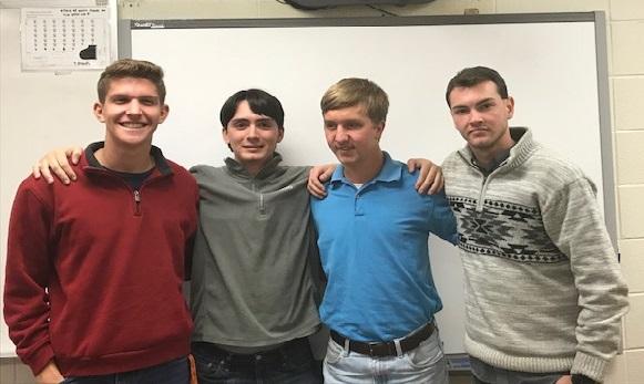 Members of the Auburn University Horn Ensemble, Fall 2017, are (left to right) Sam Becker, Andrew Kirk, Tripp Gulledge, and Jonathan Tribble. Photo credit Bill Schaffer.