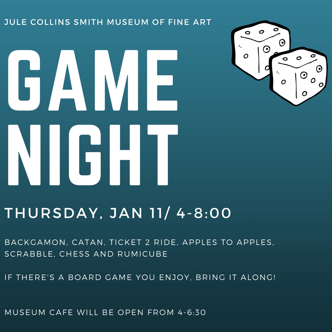 Promotional graphic for Game Night on Thurs., Jan. 11, 2018 at 4 p.m.