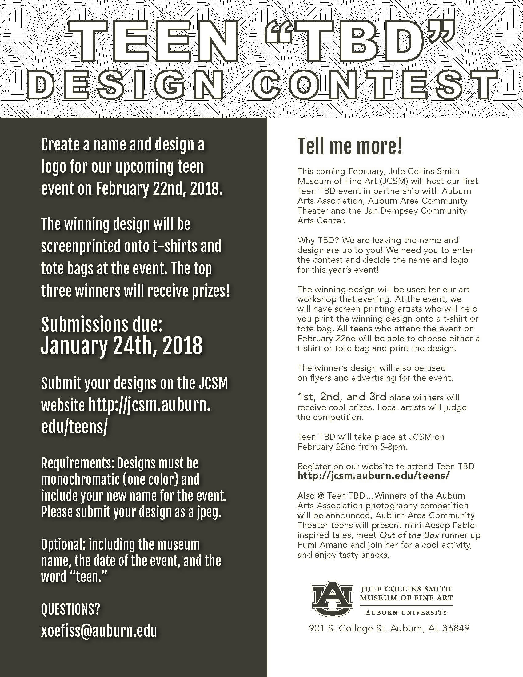 Informational flyer for the juried art competition Teen TBD.