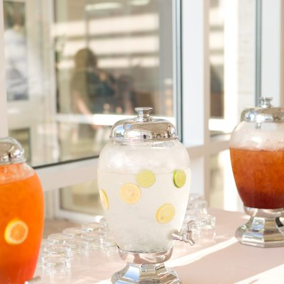 Iced tea and water station by Ursula's Catering