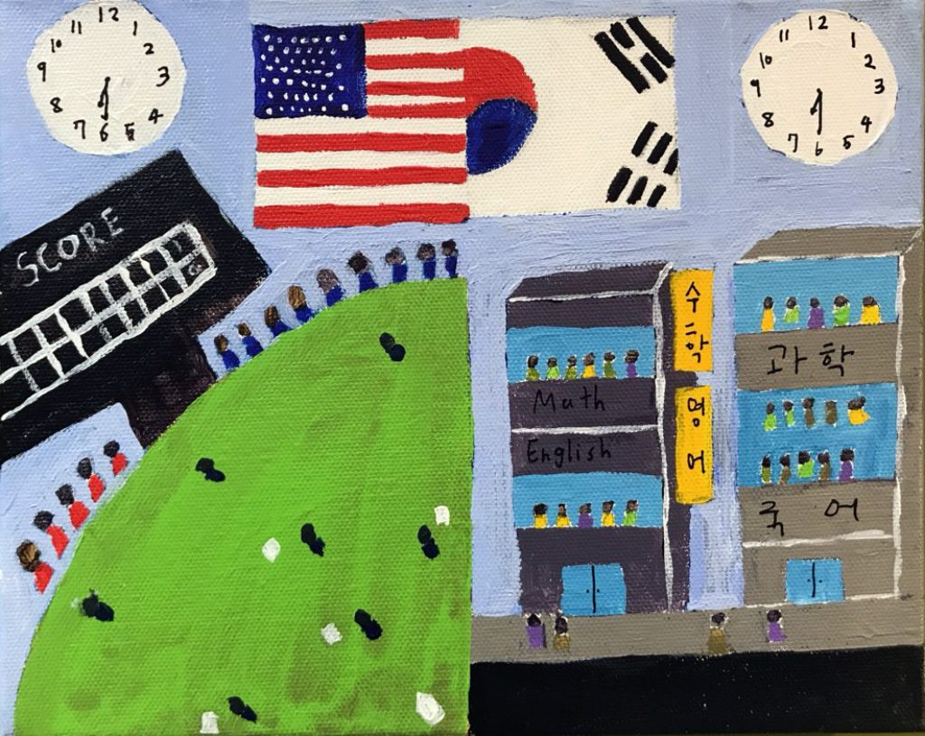 A painting with two sides. On the left is an American baseball game at night, on the right is a Korean school at night where students are still studying. Two clocks show that it is the same time.