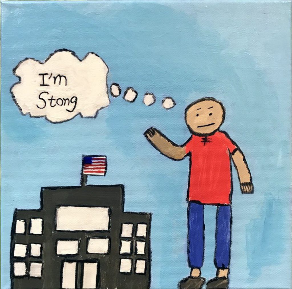 "A figure in a red shirt and blue pants stands next to a building with an American flag. The figure is taller than the building and is thinking ""I'm Strong""."