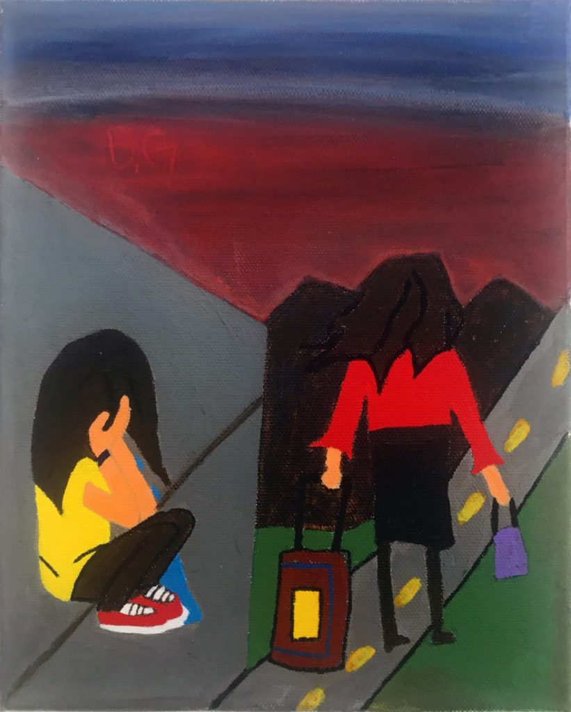A figure walks away with a suitcase down a road towards mountains. A second person sits on the ground with their head in their hands.