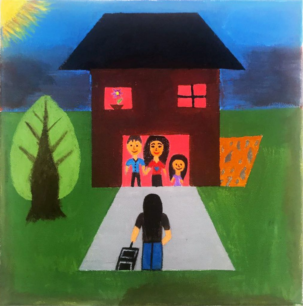 A figure with a suitcase stands in front of a house. A family stands in the doorway. There is a tree to the left of the house and a small garden on the right.