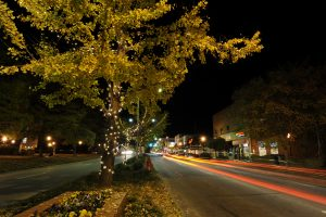 College Street (1 of the main streets) at Night