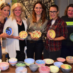 "Photo caption: WSU Empty Bowls organizers with Emma Draghi, Empty Bowls  Artist-in-Residence at the ""Paint a Bowl with Emma"" event: Brenda Lichman, WSU School of Art, Design, and Creative Industries, Instructor in Ceramics, Dr. Deborah Ballard-Reisch, WSU Elliott School of Communication, Founder, WSU Hunger Awareness Initiative, Emma Draghi, Michelle Dreiling, Faculty Advisor to the WSU Hunger Awareness Initiative, Carolyn Copple, Ulrich Museum of Art"