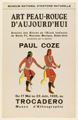 Art Exhibition Poster with painting of two dancing figures holding pine sprigs and rattles.