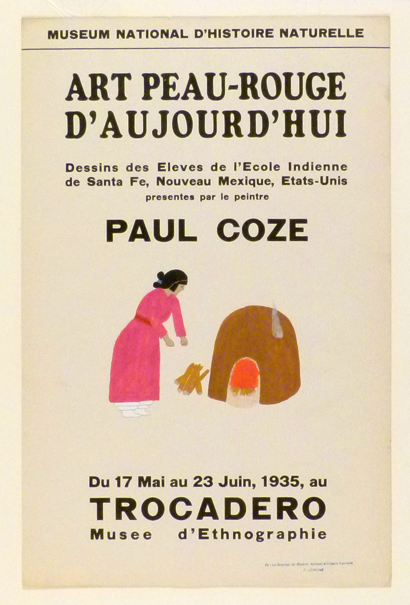 Art Exhibition Poster with painting of standing figure clothed in a pink dress, leaning toward a pile of logs. A small oven with a fire inside appears on the right.