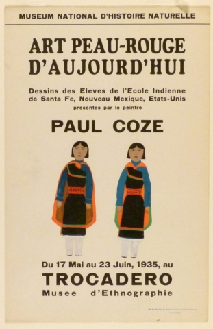 Art Exhibition Poster with painting of two identical figures facing the viewer, clothed in black dresses with colorful trim and capes.