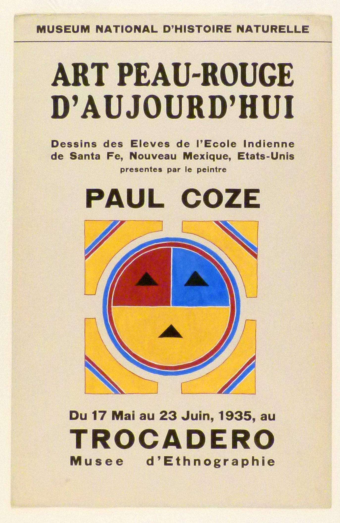 Art Exhibition Poster with painting of circle in red, yellow, and blue with a schematic face, nested inside four triangular shapes that form a square.