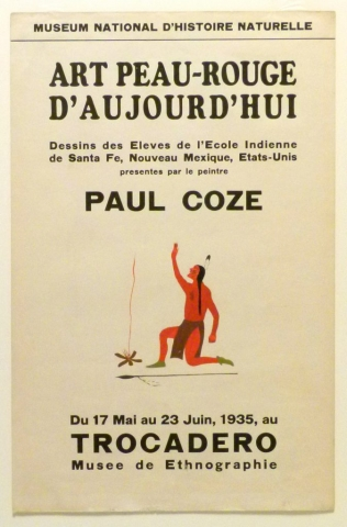 Art Exhibition Poster with painting of kneeling figure who reaches one arm toward the sky, facing a fire with smoke curling up at left. A horizontal spear appears below the figure.
