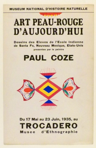 Art Exhibition Poster with painting of a symmetrical design made of floral and geometric components in bright red, blue, yellow, and green. Additional abstract design above the text in the poster.