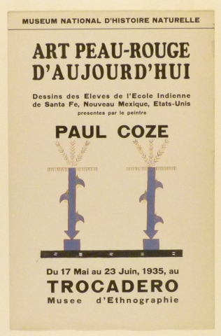 Art Exhibition Poster with painting of two identical plant-like pillars painted in blue with a red outline, anchored in a horizontal black bar.