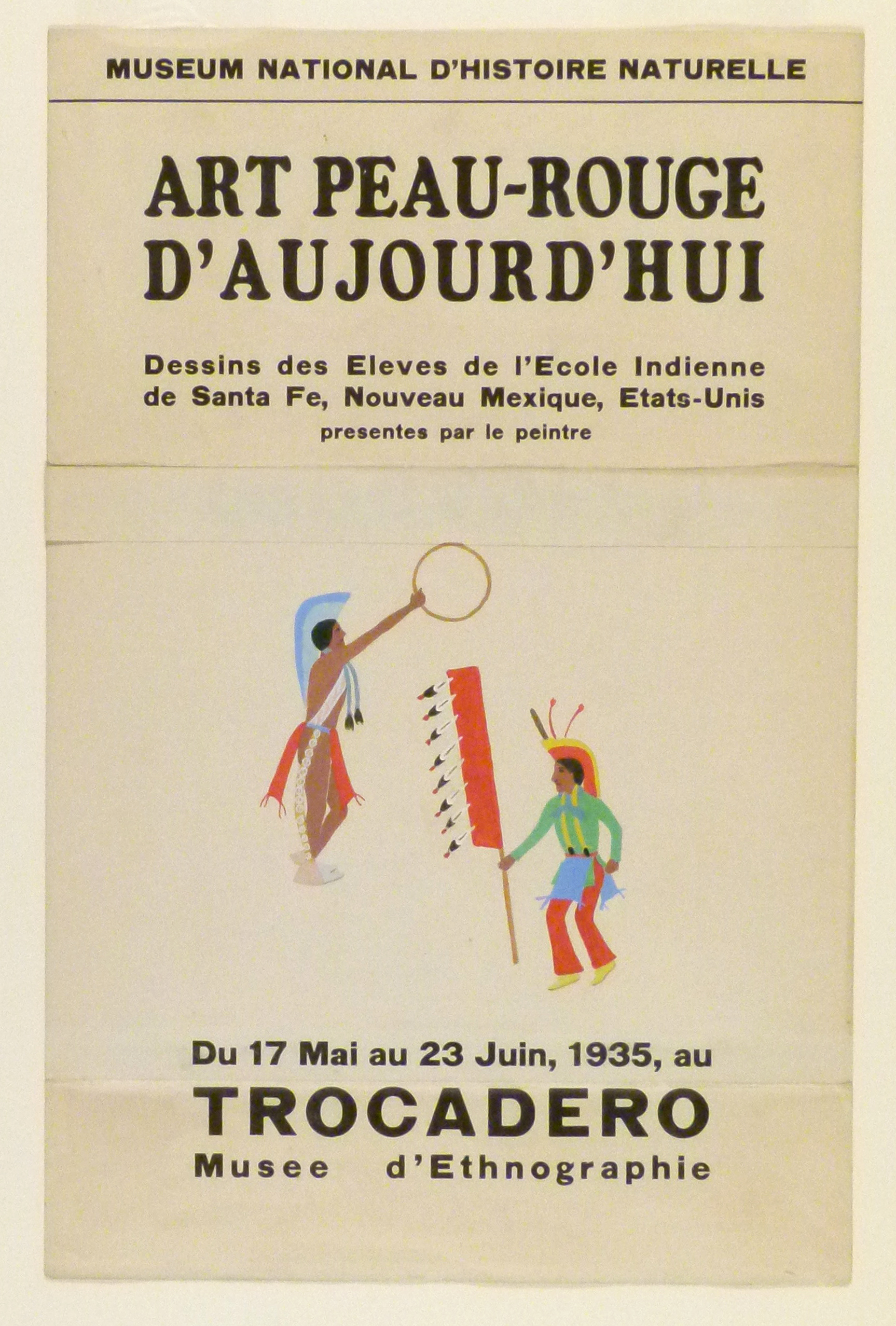 Art Exhibition Poster with painting of two dancing figures in brightly-colored dress. The figure at left holds a gold hoop, the figure at right, a tall, feathered staff.