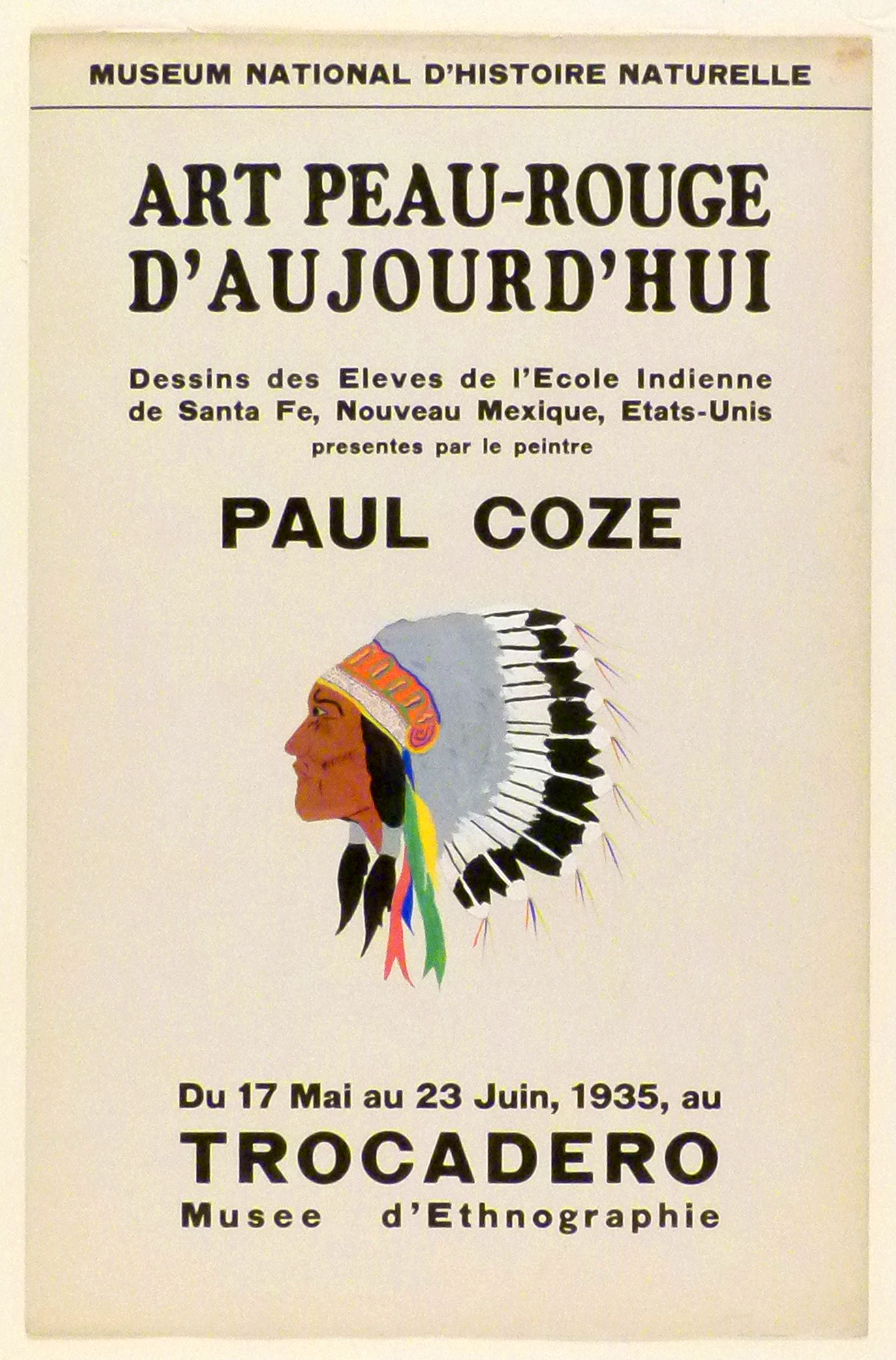 Art Exhibition Poster with painting of face in profile with feathered headdress.