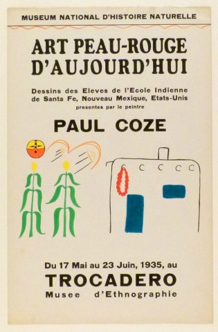 Art Exhibition Poster with painting of two stalks of corn under a sun-like orb with schematic face in black, orange, and yellow. An adobe structure with blue door and red wreath stands on the right.