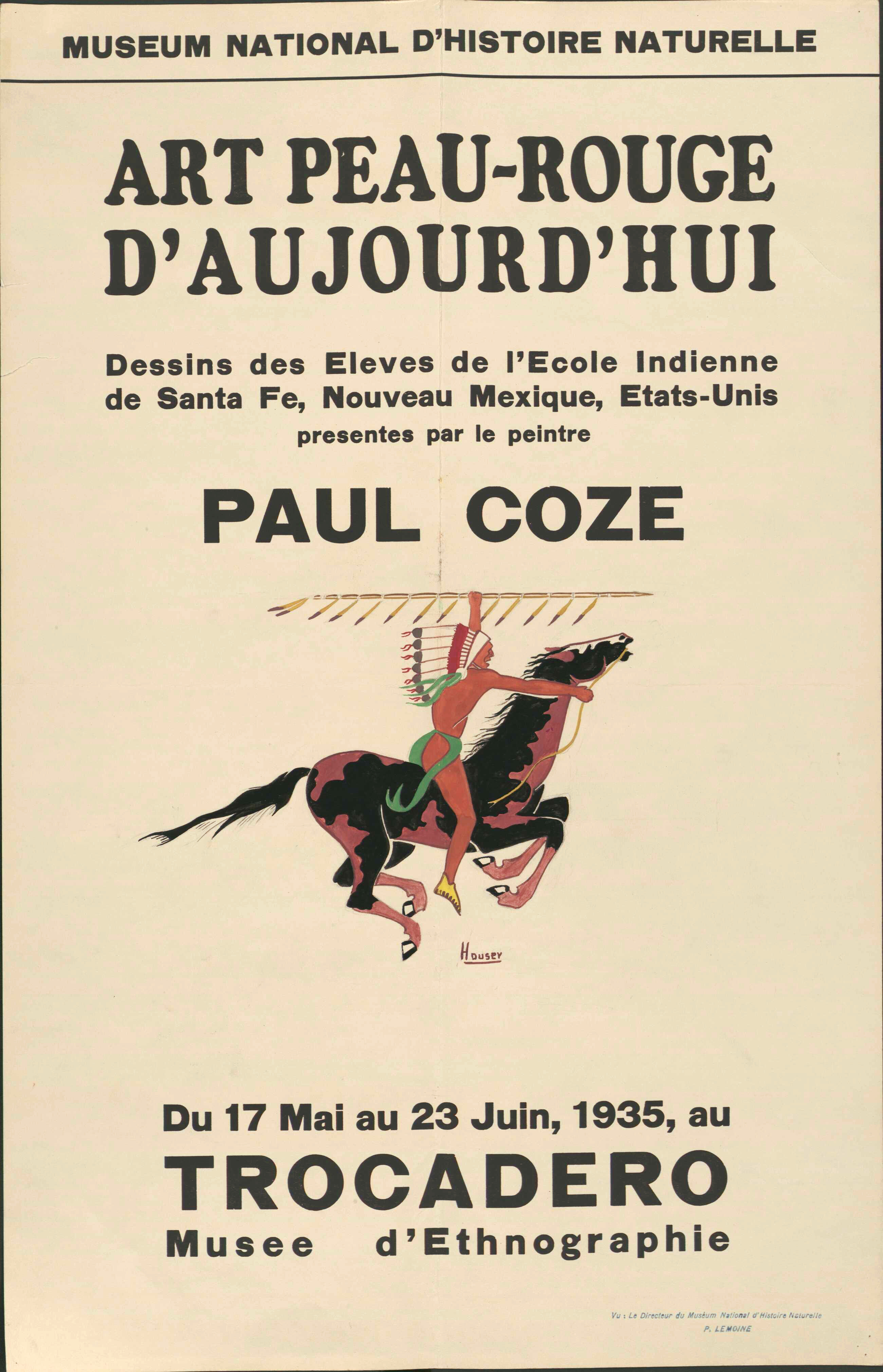 Art Exhibition Poster with Painting of a figure in war bonnet on horseback holding feathered spear.