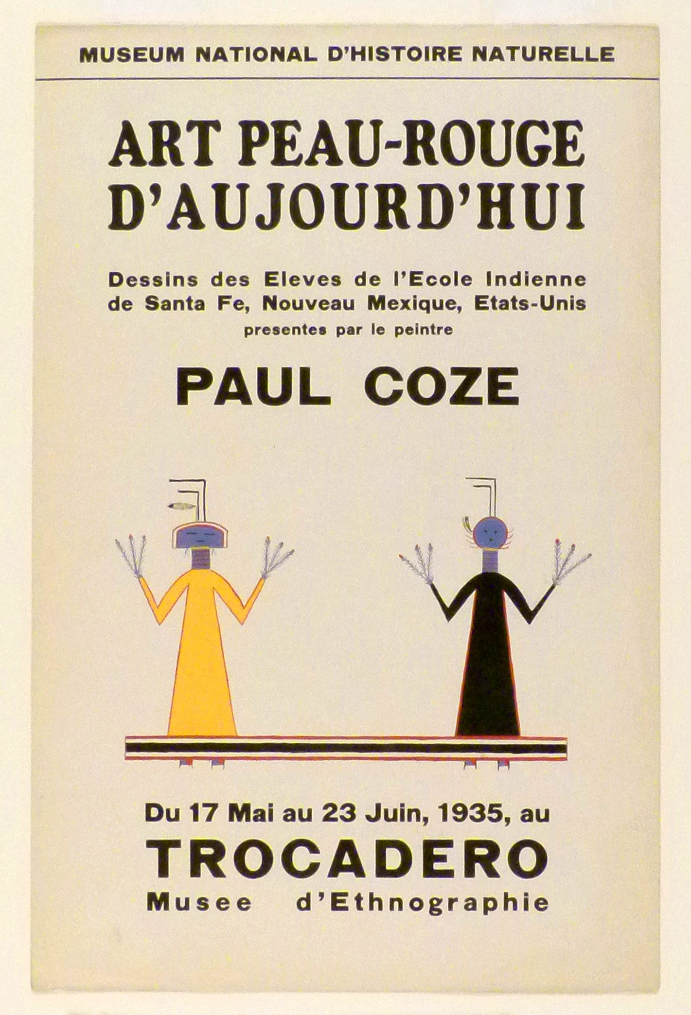Art Exhibition Poster with painting of two upright figures resting on a horizontal black and red bar. The figure at left has a yellow body and a semicircular blue head, the figure at right has a black body and a circular head.