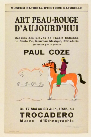 Art Exhibition Poster with painting of figure in a purple shirt and green paintings on an orange and white horse. They rest on a ground line and face abstract designs at left.
