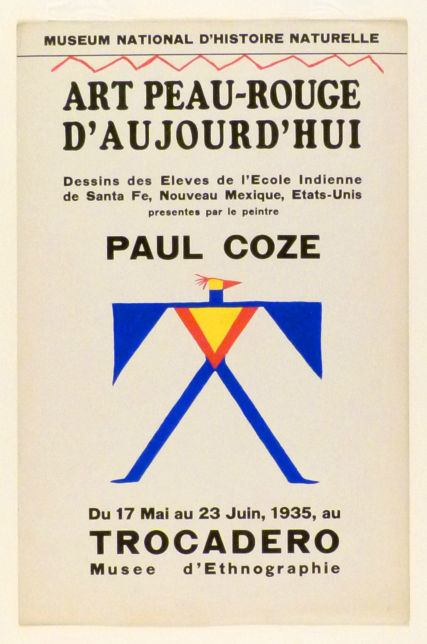 Art Exhibition Poster with painting of bird-like geometric design with outstretched blue legs and wings and a red and yellow torso and head.