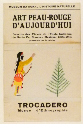 Art Exhibition Poster with painting of figure in yellow gesturing toward the sky. He wears a shield over his shoulder, holds a bow, and faces a green pine tree at right.