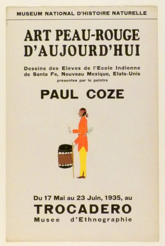 Art Exhibition Poster with painting of standing figure facing left in bright orange tunic and yellow pants holding a large drum.