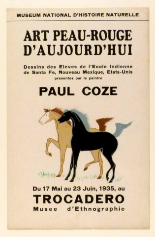 Art Exhibition Poster with painting of two horses facing left. One is black with gray hair, the other tan with brown hair.