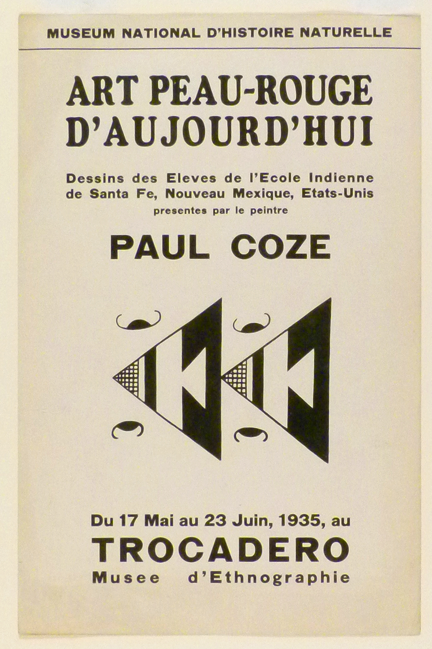 Art Exhibition Poster with painting of two identical black and white triangles with geometric designs pointing to the left. They are flanked by four curved lines with ovular black centers.