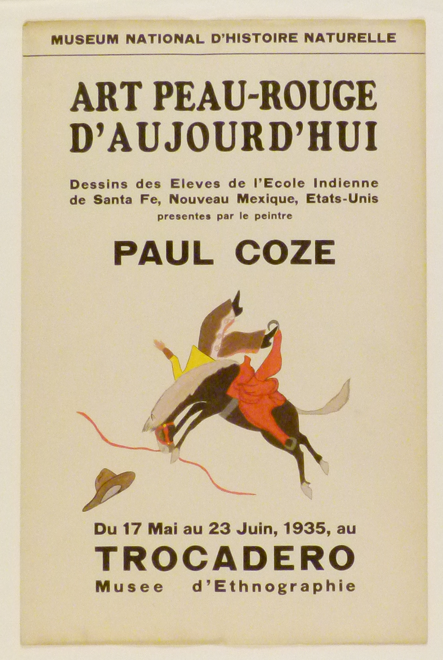 Art Exhibition Poster with painting of bucking bronco facing left with an airborne figure falling off. A hat appears at lower left.