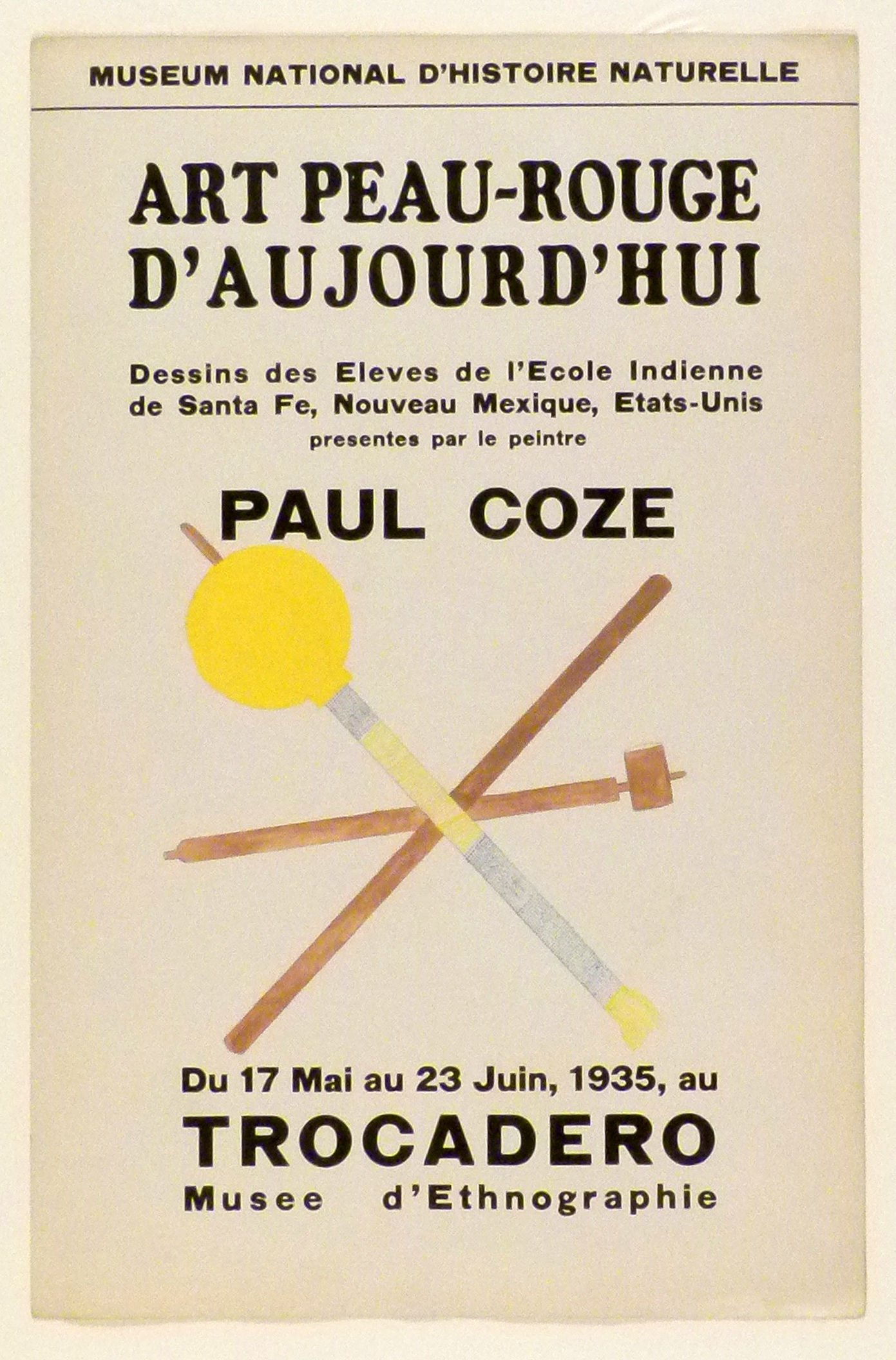 Art Exhibition Poster with painting of three intersecting rods. Two are brown, one is yellow and grey with a circular yellow rattle attached at the top left end.
