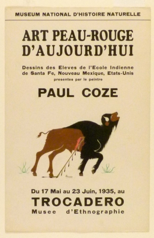 Art Exhibition Poster with painting of buffalo with feathered spear in its side.