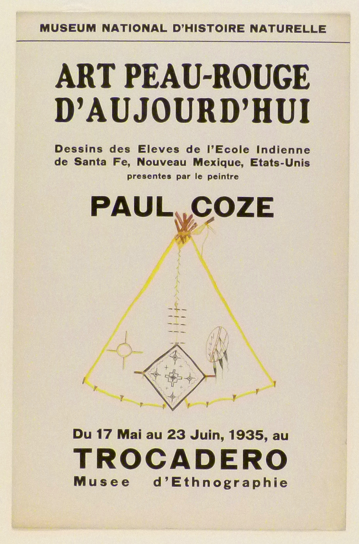 Art Exhibition Poster with painting of a tipi outlined in yellow, with various geometric designs in black and brown around the base.