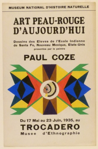 Art Exhibition Poster with painting of a face in profile wearing a feathered headdress in a circle at center. It is enclosed by brightly-colored geometric designs.