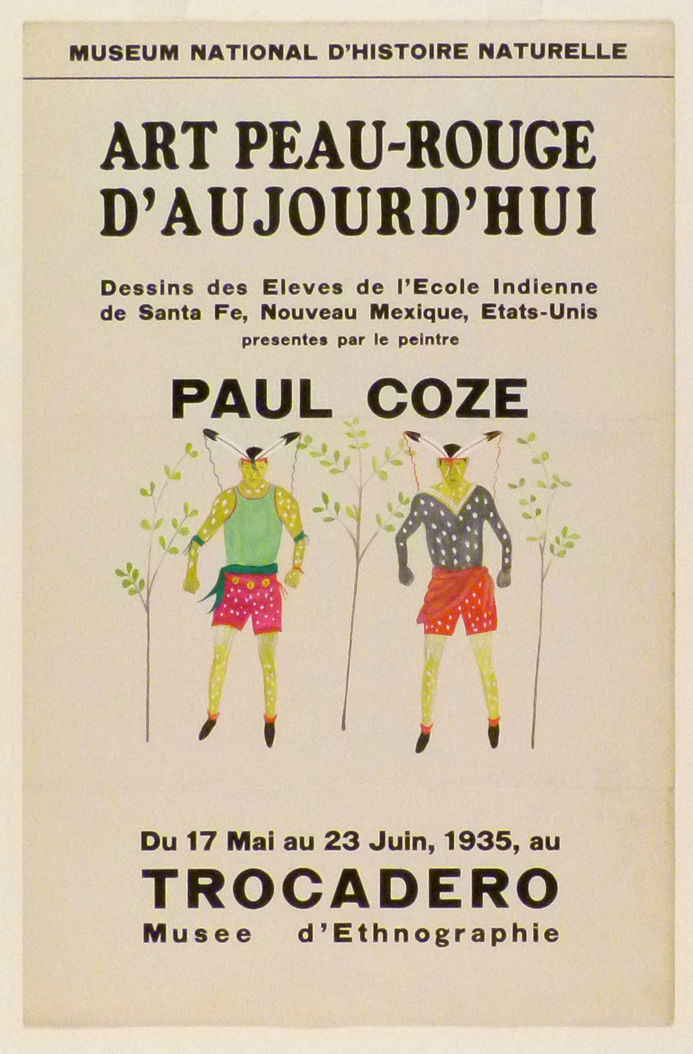 Art Exhibition Poster with painting of two figures facing the viewer, surrounded by vertical branches with green leaves. They wear brightly colored shorts and shirts with feathers on their heads and are covered with white spots.