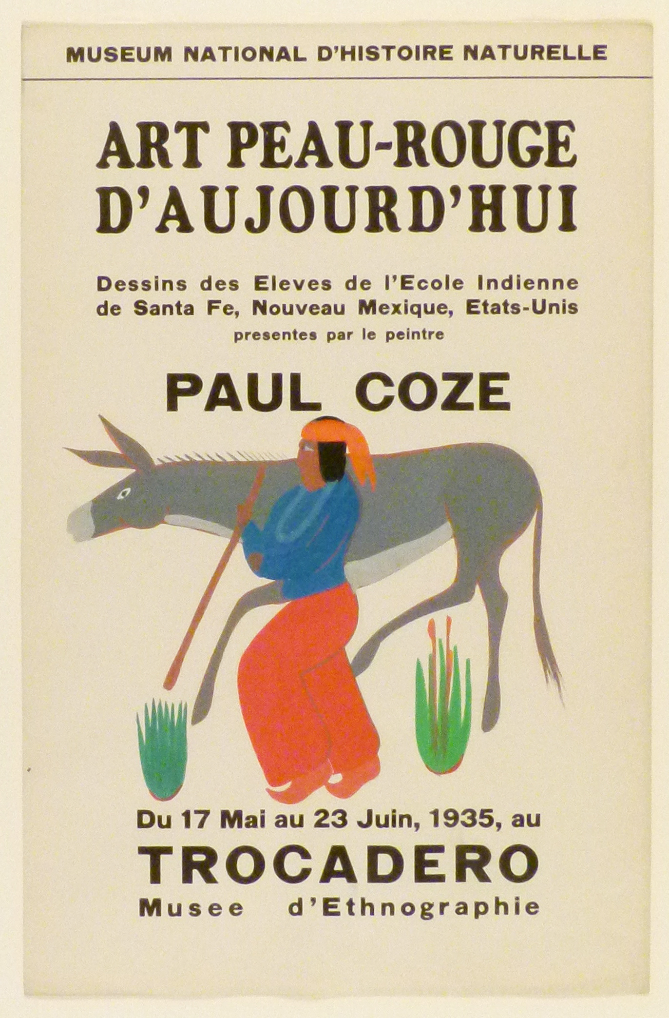 Art Exhibition Poster with painting of figure in blue shirt and red pants walking toward the left alongside a grey donkey.