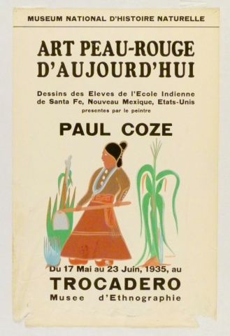 Art Exhibition Poster with painting of figure in a brown dress holding a hoe, walking toward the left, surrounded by green stalks of corn.