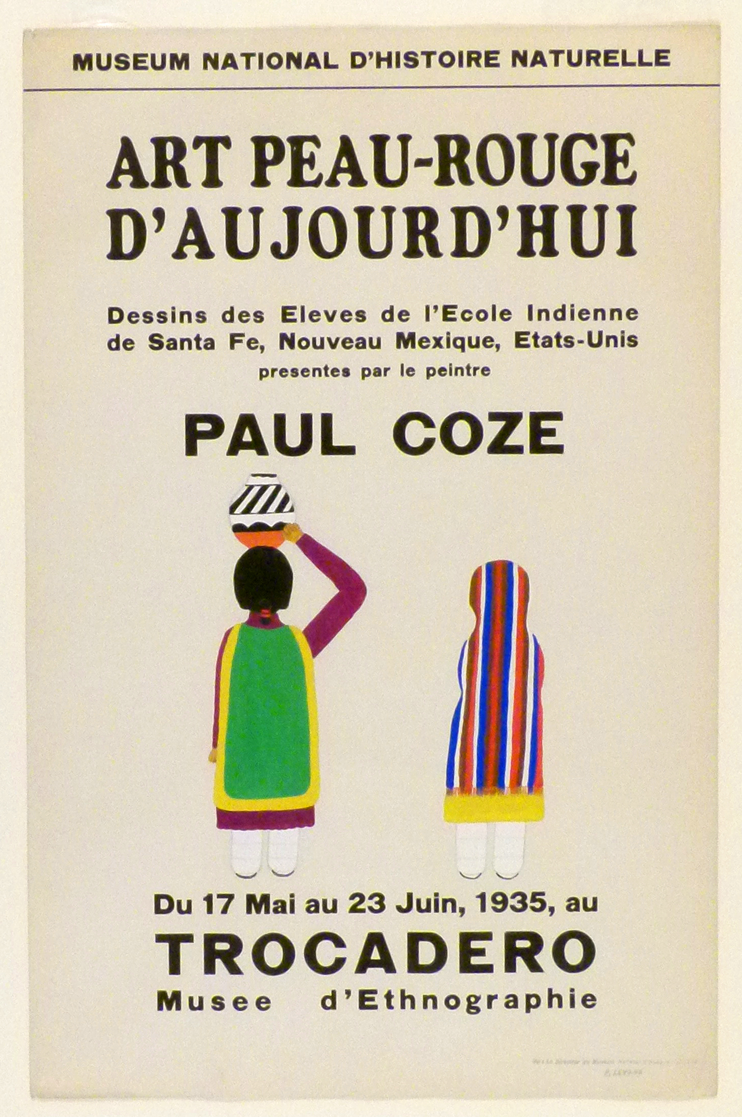Art Exhibition Poster with painting of two figures viewed from behind. The figure on the left holds a vase on her head. The figure on the right is covered in colorful vertical stripes.